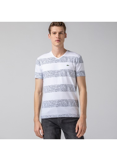 Lacoste Erkek V Yaka Tişört TH0021.21A Beyaz